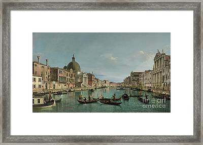 The Grand Canal In Venice With San Simeone Piccolo And The Scalzi Church Framed Print by Canaletto