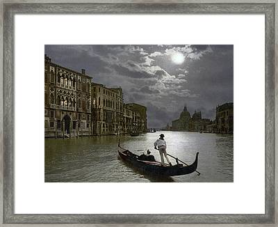 The Grand Canal Venice By Moonlight Framed Print by Italian School