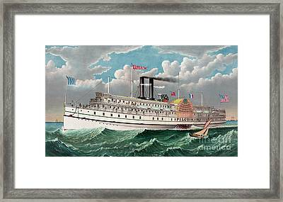 The Grand New Steamboat Pilgrim Framed Print by Currier and Ives