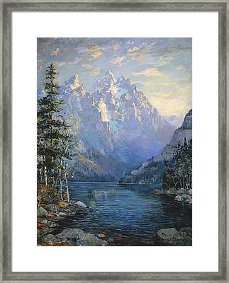 The Grand Tetons And Jenny Lake Framed Print by Lewis A Ramsey