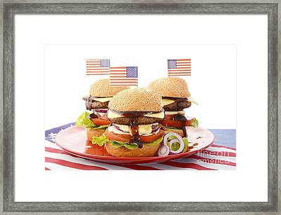 The Great Bbq Hamburger With Flags Framed Print by Milleflore Images