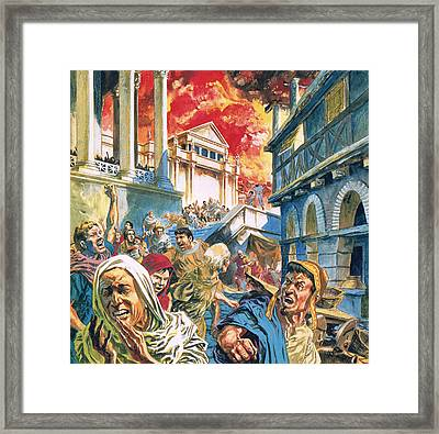 The Great Fire Of Rome Framed Print by English School
