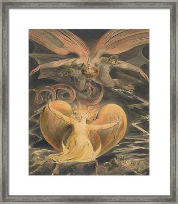 The Great Red Dragon And The Woman Clothed With The Sun Framed Print by William Blake
