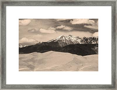 The Great Sand Dunes And Sangre De Cristo Mountains - Sepia Framed Print by James BO  Insogna
