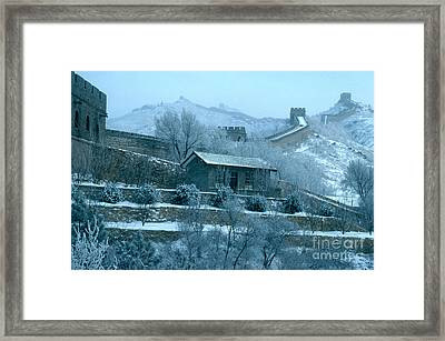 The Great Wall Of China During Winter Framed Print by George Holton