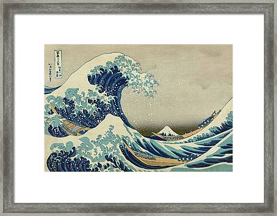 The Great Wave Off Kanagawa - Hokusai  Framed Print by War Is Hell Store