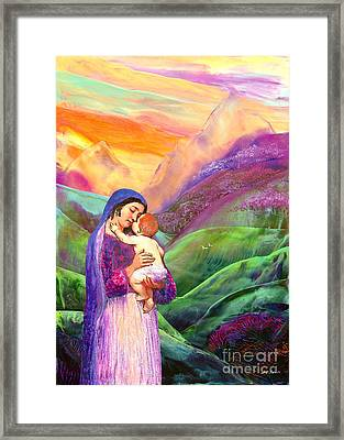 Virgin Mary And Baby Jesus, The Greatest Gift Framed Print by Jane Small
