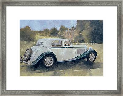The Green And White Bentley At Althorp Framed Print by Peter Miller