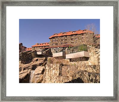 The Grove Park Inn Back Terraces And Waterfall Framed Print by MM Anderson