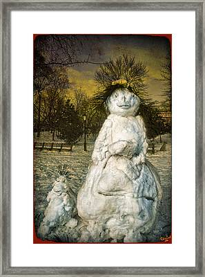 The Grunge Snowperson And Small Goth Friend Framed Print by Chris Lord