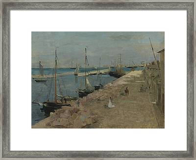 The Harbor At Cherbourg Framed Print by Berthe Morisot