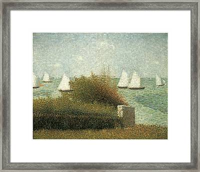 The Harbor At Grandcamp Framed Print by Georges Seurat