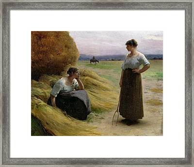 The Harvesters Framed Print by Henri Lerolle
