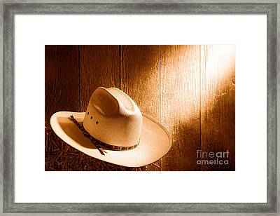 The Hat - Sepia Framed Print by Olivier Le Queinec