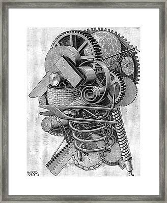The Head Of An Inventor Framed Print by Louis Poyet