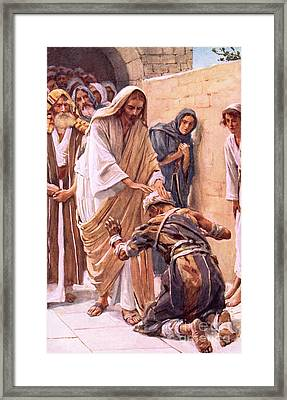 The Healing Of The Leper Framed Print by Harold Copping