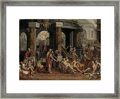 The Healing Of The Paralytic, Pool Of Bethesda, 1575 Framed Print by Pieter Aertsen