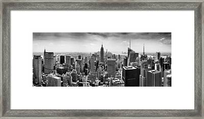 New York City Skyline Bw Framed Print by Az Jackson