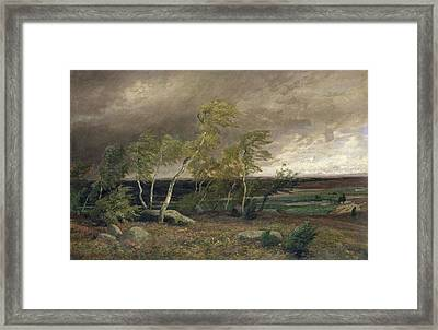 The Heath In A Storm Framed Print by Valentin Ruths