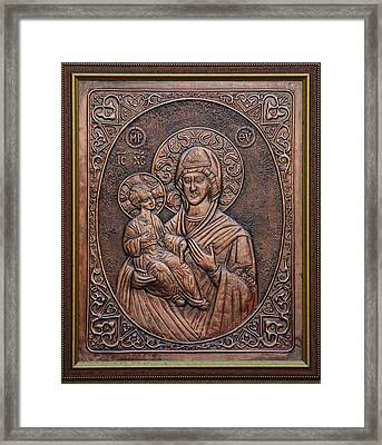The Holly Mother With Jesus Christ Framed Print by Netka Dimoska