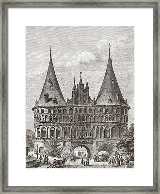 The Holsten Gate, Lubeck, Germany In Framed Print by Vintage Design Pics