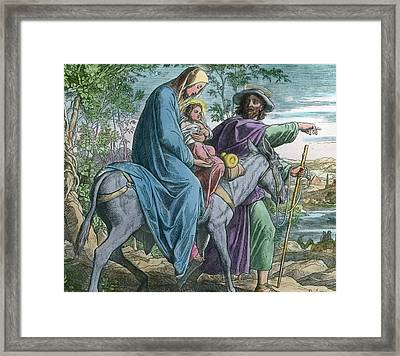 The Holy Family And The Flight Into Egypt Framed Print by German School