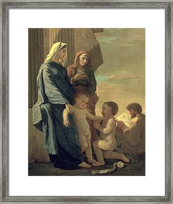 The Holy Family Framed Print by Nicolas Poussin