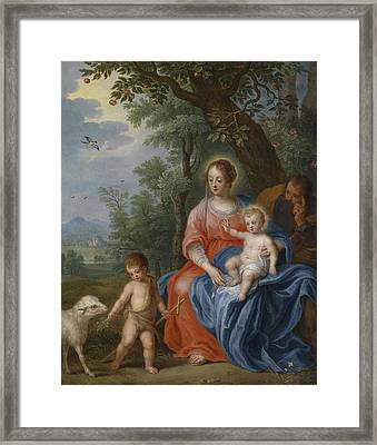 The Holy Family With John The Baptist And The Lamb Framed Print by Jan Brueghel the Younger