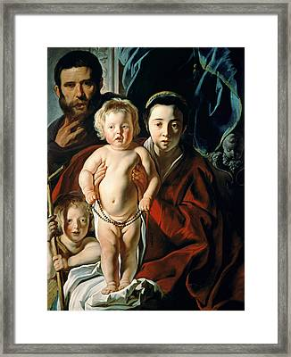 The Holy Family With St. John The Baptist Framed Print by Jacob Jordaens
