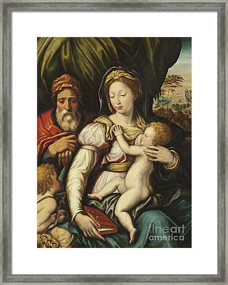 The Holy Family With The Infant St John Framed Print by Italian School