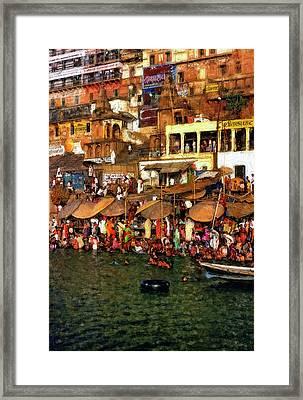 The Holy Ganges Impasto Framed Print by Steve Harrington
