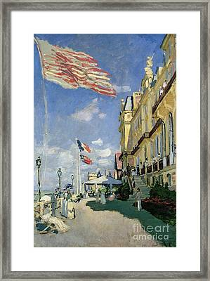 The Hotel Des Roches Noires At Trouville Framed Print by Claude Monet