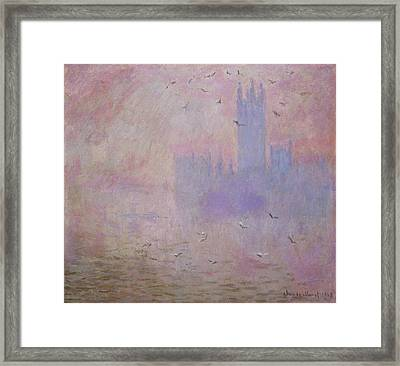 The Houses Of Parliament, Seagulls Framed Print by Claude Monet