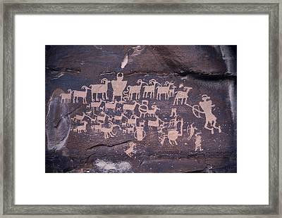 The Hunt Scene- Ancient Pueblo-anasazi Framed Print by Ira Block