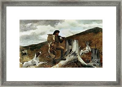 The Hunter And His Dogs Framed Print by Winslow Homer