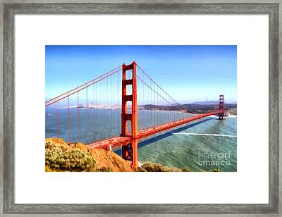 The Iconic San Francisco Golden Gate Bridge . 7d14507 Framed Print by Wingsdomain Art and Photography
