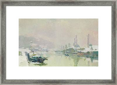 The Ile Lacroix Under Snow Framed Print by Albert Charles Lebourg