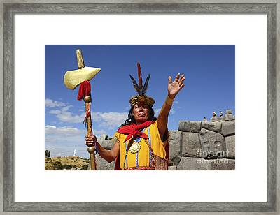 The Inca At Sacsayhuaman Framed Print by James Brunker