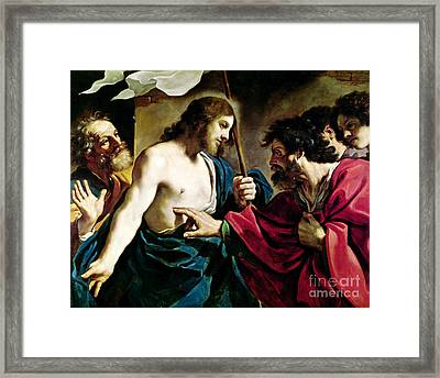 The Incredulity Of Saint Thomas Framed Print by Guercino
