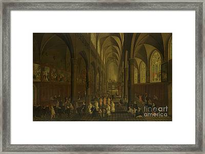 The Interior Of The Dominican Church In Antwerp Framed Print by Celestial Images