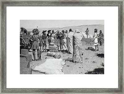 The Interpreter Waved At The Youth Framed Print by Frederic Remington