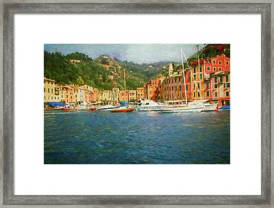 The Italian Village Of Portofino Framed Print by Mitchell R Grosky