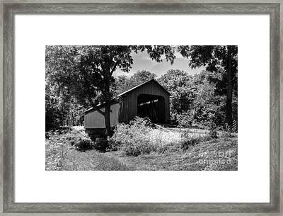 The James Covered Bridge Bw Framed Print by Mel Steinhauer