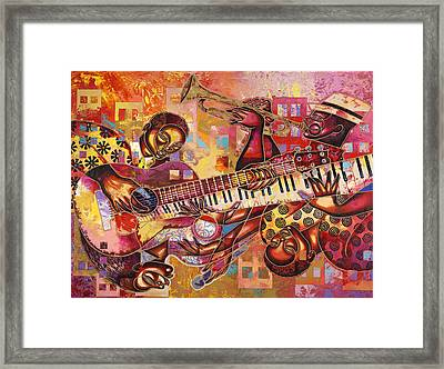 The Jazz Dimension  Framed Print by Larry Poncho Brown
