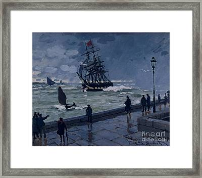 The Jetty At Le Havre In Bad Weather Framed Print by Claude Monet