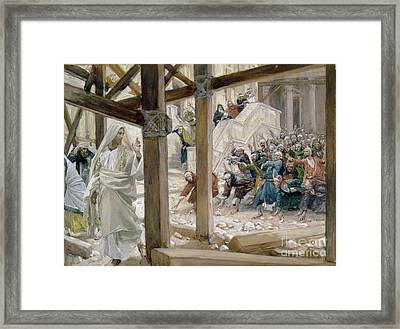 The Jews Took Up Stones To Cast At Him Framed Print by Tissot