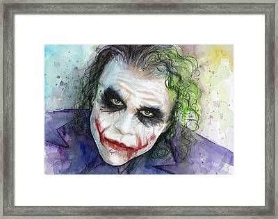 The Joker Watercolor Framed Print by Olga Shvartsur
