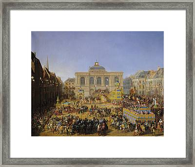 The Kermesse At Saint-omer In 1846 Framed Print by Auguste Jacques Regnier