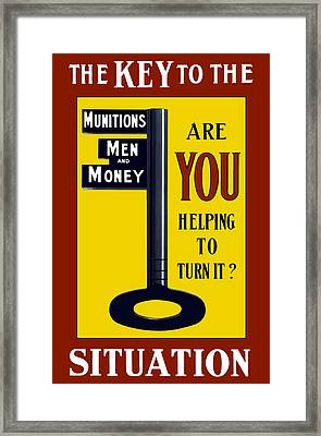The Key To The Situation - Ww1 Framed Print by War Is Hell Store