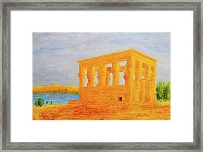 The Kiosk Of Trajan, Philae Island, Aswan, Egypt Framed Print by Ayman Alenany